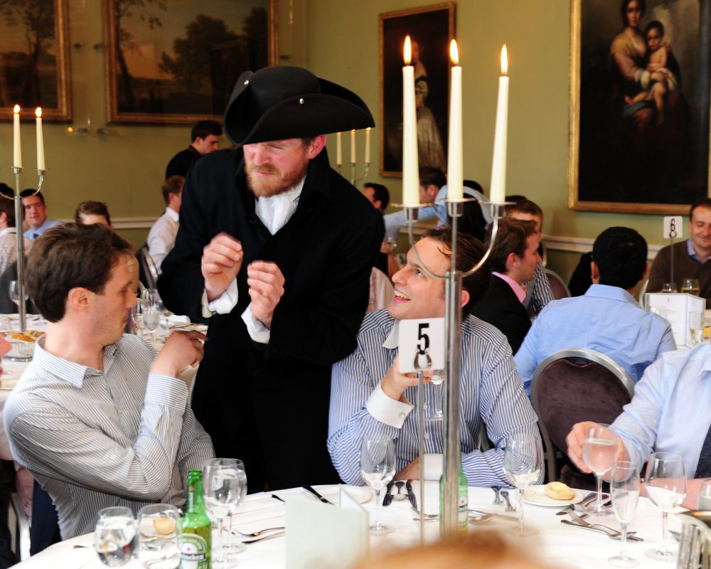 One of the Orangeworks actors chatting to the delegates during their murder mystery style corporate evening dinner.