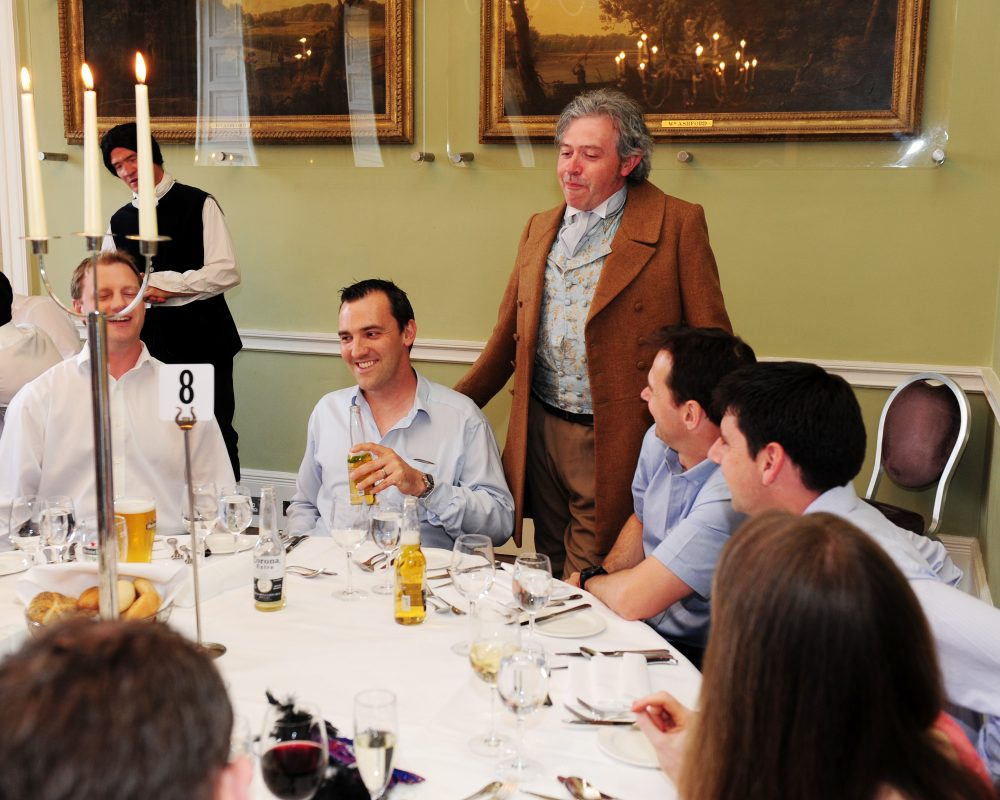 Delegates enjoying their murder mystery corporate evening interaction with Orangeworks at Carton House.
