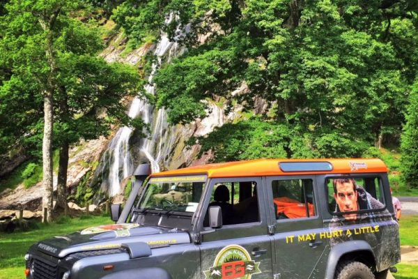 Powerscourt Waterfall, Wicklow with a Land Rover Defender