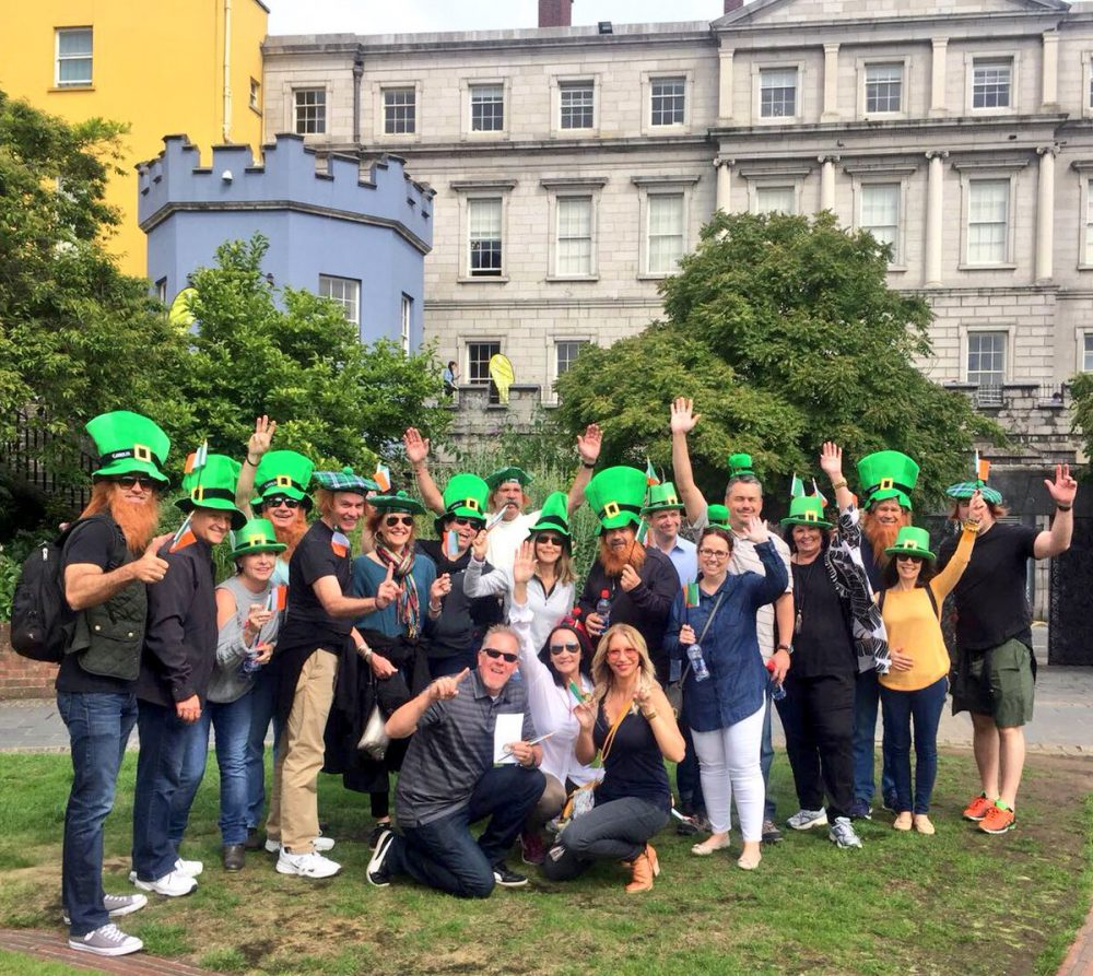 Delegates wearing leprechaun hats about to commence their Go Team Dublin Treasure Hunt and Interactive Treasure Trail.