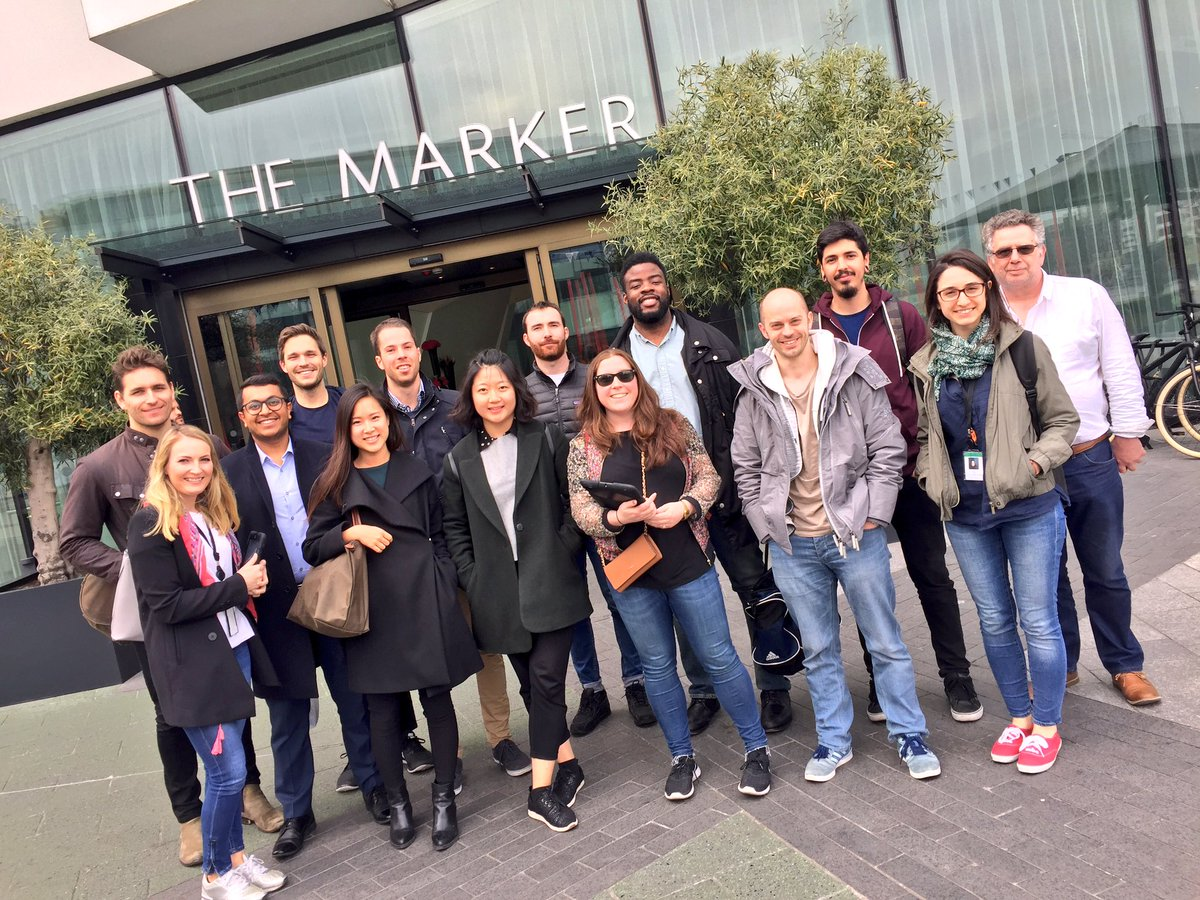 Delegates standing in front of the Marker Hotel as they set off on their team building treasure hunt activity.