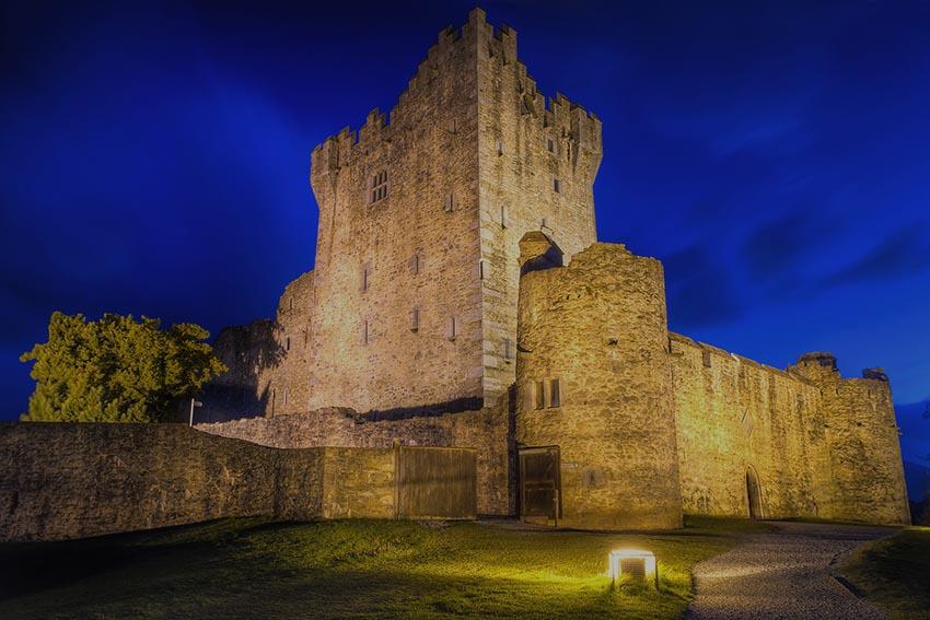 15th Century Ross castle at night, Co. Kerry - Ireland