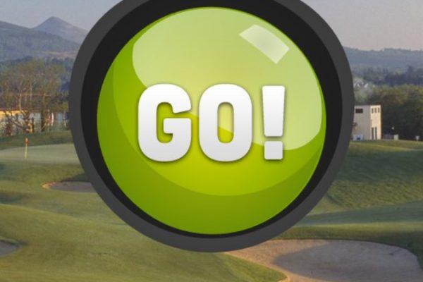 Go Team Druids Glen 'Go' sign on iPad screen