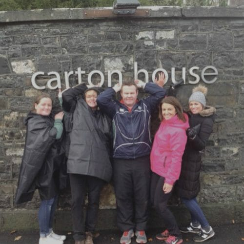 Delegates playing an interactive treasure hunt challenge at Carton House called Go Team, hosted by Orangeworks.