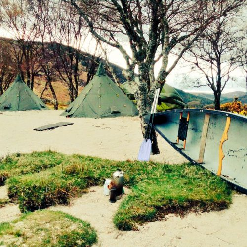 Kayak and tents located on a Bespoke Island in Ireland
