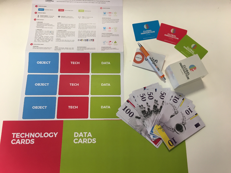 Orangeworks Team Development experience Global Innovation Game set up for their showcase