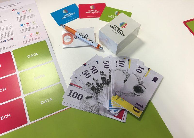 Global Innovation Game set up for Orangeworks Team Development Showcase
