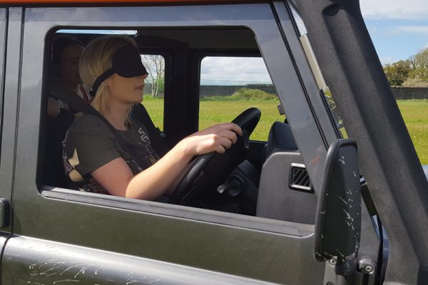 Blindfold driving in our Land rover Defender
