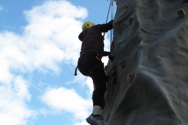 Delegate climbing our Mobile Climbing Wall
