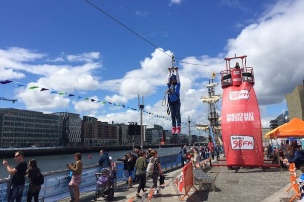 Our mobile Zip Line at a 98fm event