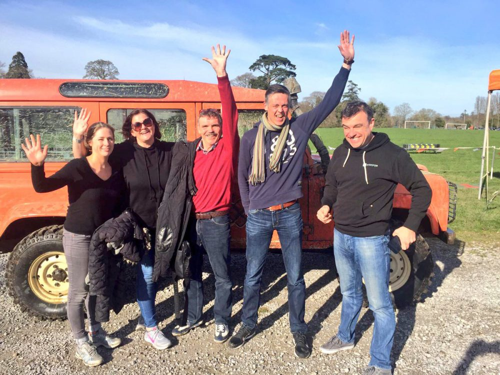 Delegates smiling after taking part in our off Road Driving Experience