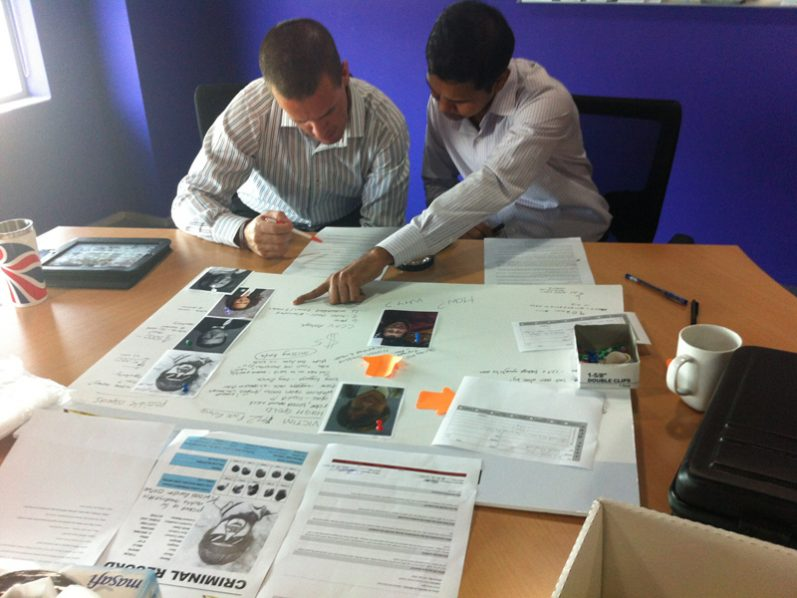 Delegates examine the evidence together during CSI, a forensic style team building game by Orangeworks.