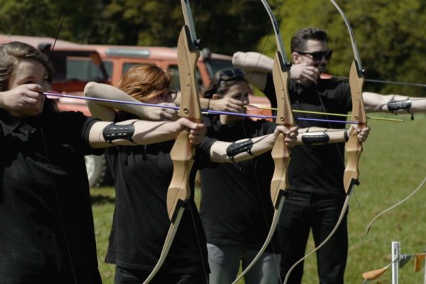 Participants taking part in archery during Duke of Leinster Games