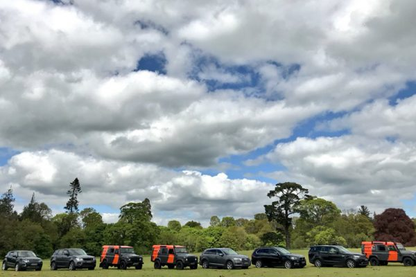 4x4 vehicles lined up before an on road treasure hunt