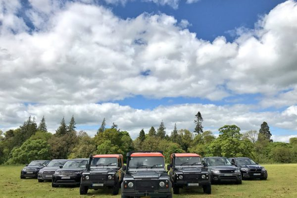 4x4 vehicles parked and ready for our Go Team Discovery Challenge in Wicklow