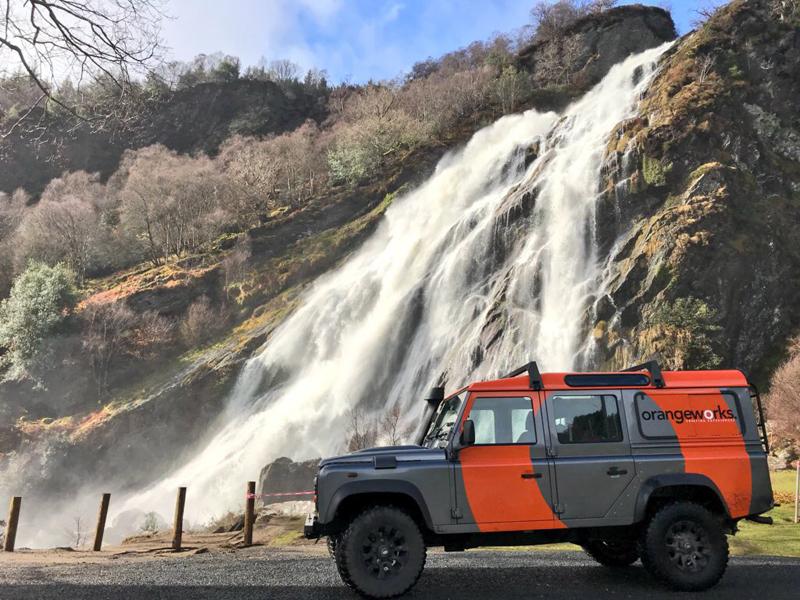 Orangeworks Landrover Defender next to Powerscourt Waterfall