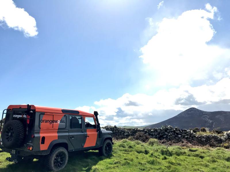 Orangeworks Landrover Defender parked up during Go Team Discovery Challenge