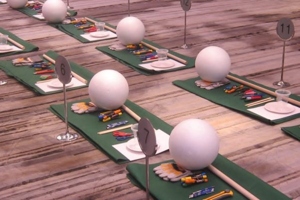 Hole in One equipment laid out for delegates who will take part in the charity-based team building activity with Orangeworks.