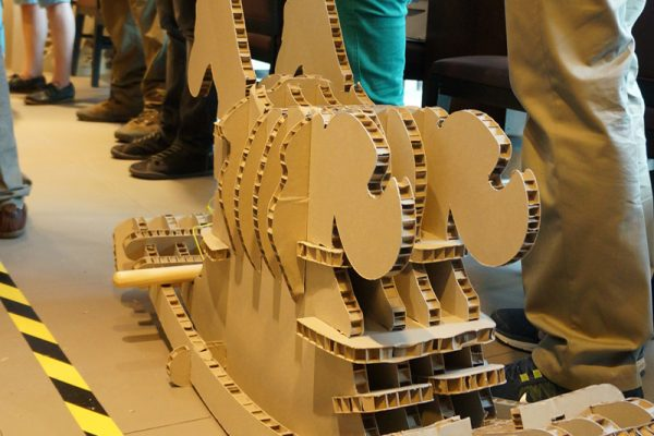 Cardboard rocking horse built by delegates during Horses for Causes