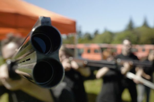 Close up of gun during Laser Clay Pigeon Shooting event