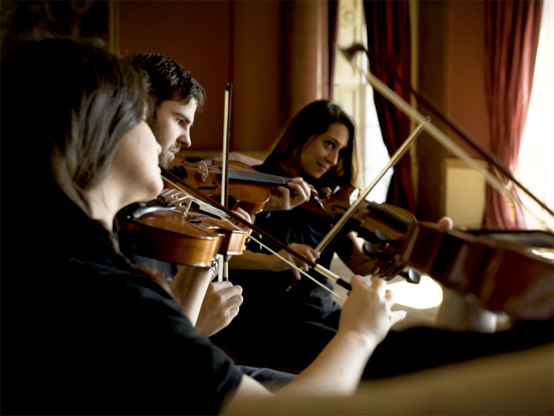 Delegates playing their violins during Orchestrate team building event