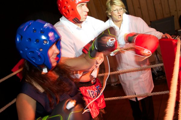 Delegates taking part in boxing during Push It event