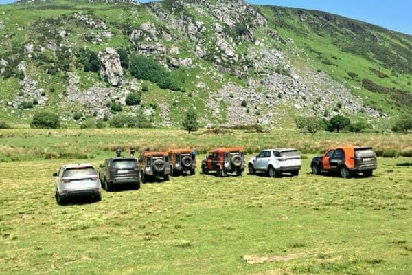 4x4 vehicles parked up and ready for our Go Team Discovery Challenge