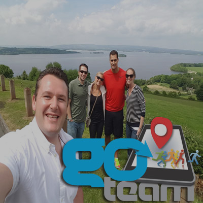 Group smiling for a photo they took whilst on Go Team Killarney iPad treasure trail