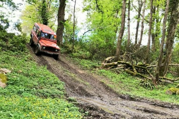 A landrover driving through the 4x4 Off Road Driving track during Orangeworks Multi-Activity Day at Carton House Estate.