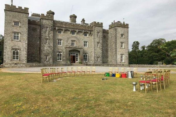 The samba drumming workshop Beatswork by Orangeworks set up outside Slane Castle ready for the team.