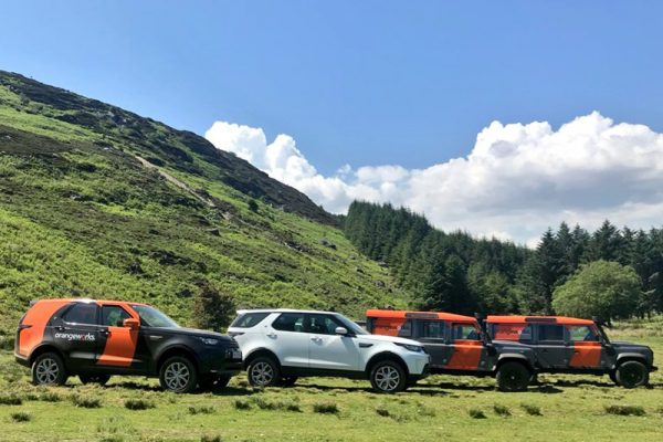 Land Rovers ready for an Orangeworks bespoke adventure
