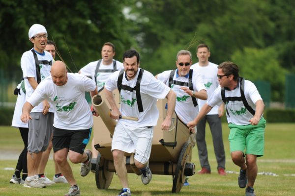 Team running during Flat Out Chariot Racing