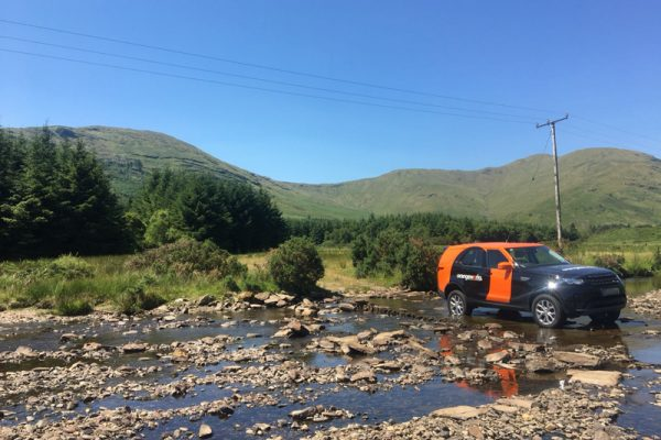 Orangeworks Land Rover Discovery river crossing in the west of Ireland