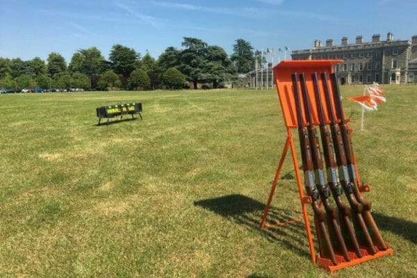 Laser Clay Pigeon Shooting set up at Carton House as part of Orangework multi-activity corporate team away day.