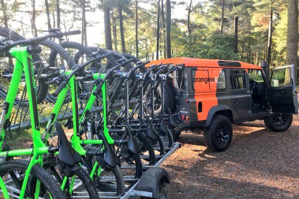 Green mountain bikes ready for our Mountain Bike Treasure Hunt