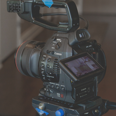 A camera set up ready for filming the team bonding activity called Commercial Break by Orangeworks.
