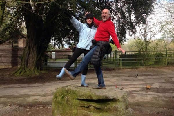 Delegates standing on a rock for a photo challenge during Go Team Fota Park