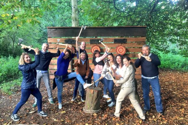 Axe Throwing during Orangeworks Discovery Challenge