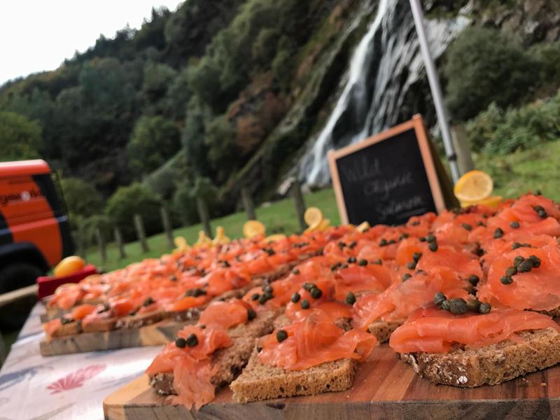 Organic Irish smoked salmon tasting during Wicklow Discovery Challenge