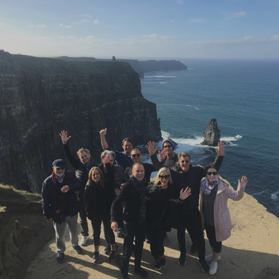 Group of delegates at the Cliffs of Moher during Orangeworks Wild Atlantic Discovery Challenge