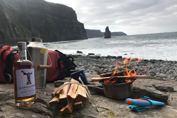 Hot whiskey making at the Cliffs of Moher