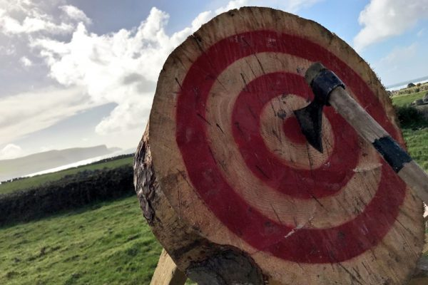 Axe Throwing in the west of Ireland in Wild Atlantic Discovery Challenge