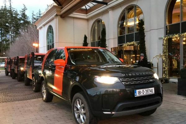 Orangeworks Land Rovers collecting delegates from Powerscourt Hotel for the Wicklow Discovery Challenge