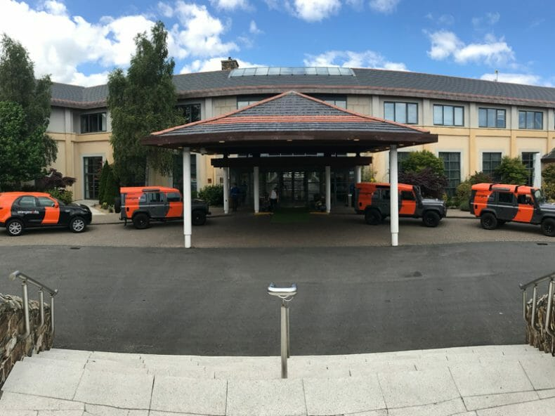 Orangeworks Land Rovers picking up delegates from Druids Glen Hotel for their Wicklow Discovery Challenge