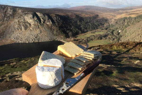 Local Wicklow cheese, crackers and chutney at Lough Tay on our Wicklow Discovery Challenge