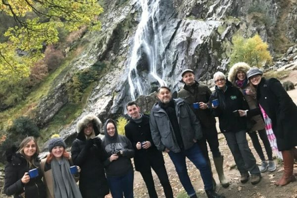 Delegates enjoying our Irish Whiskey tasting at Powerscourt Waterfall during our Wicklow Discovery Challenge