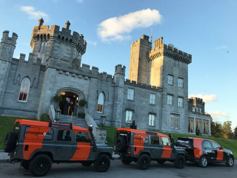 Orangeworks landrover fleet at Dromoland Castle