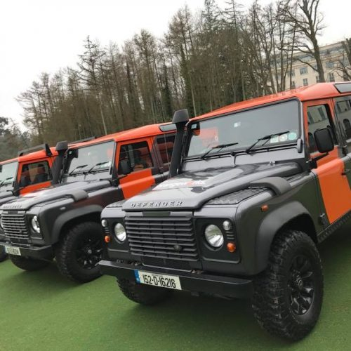 orangeworks landrover vehicles parked up at powerscourt ready for delegates to take on the go team discovery challenge