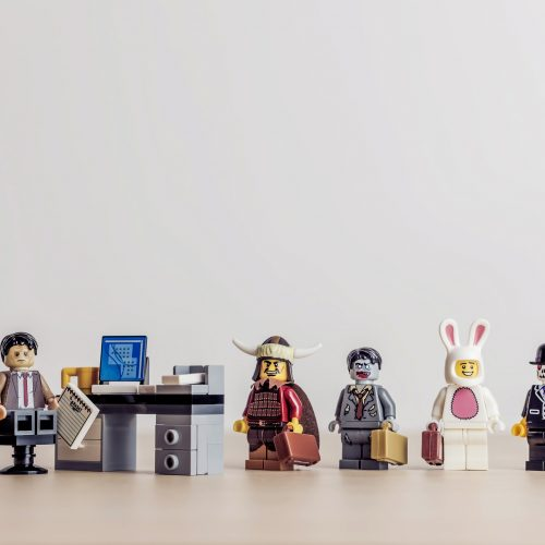 lego men conducting job interview