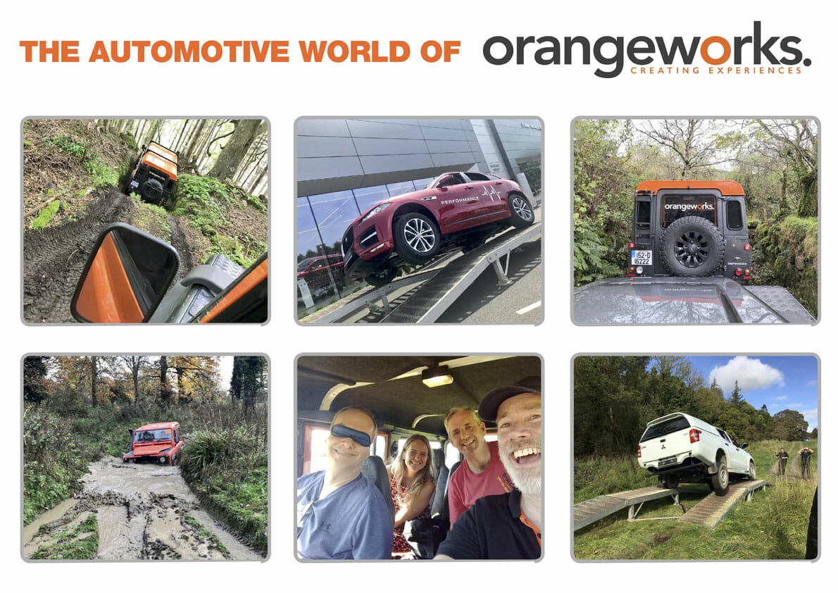 A promotional poster for the blog post about the automotive world of orangeworks, including land rovers & off-road tracks.